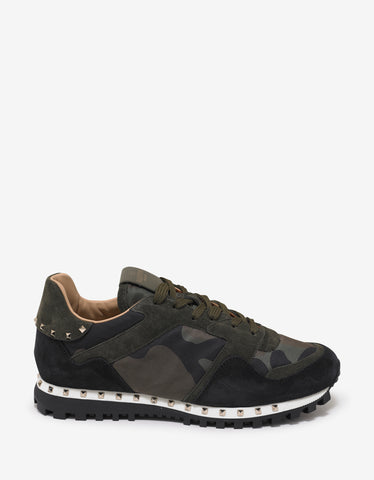 Valentino Garavani Green & Orange Camo Studded Rockrunner Trainers