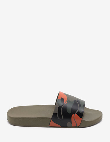Valentino Garavani Green & Orange Camouflage Slide Sandals
