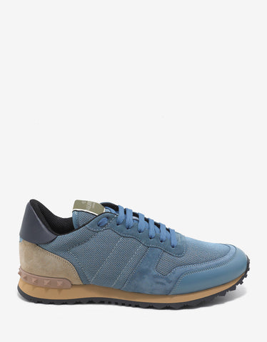 Valentino Garavani Light Blue Nylon Mesh Rockrunner Trainers