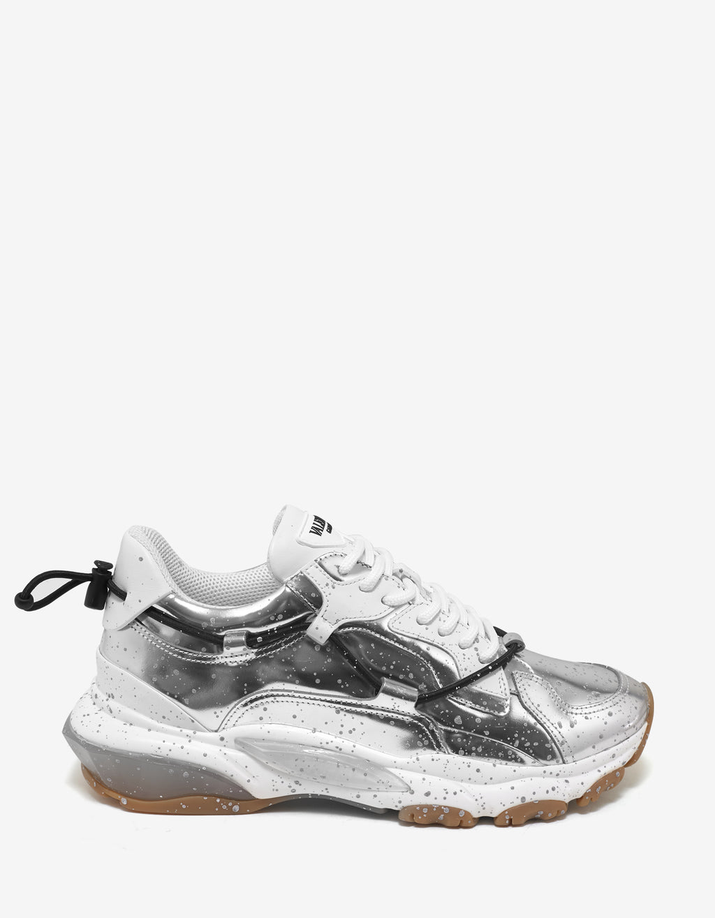 Metallic Silver Leather Bounce Trainers