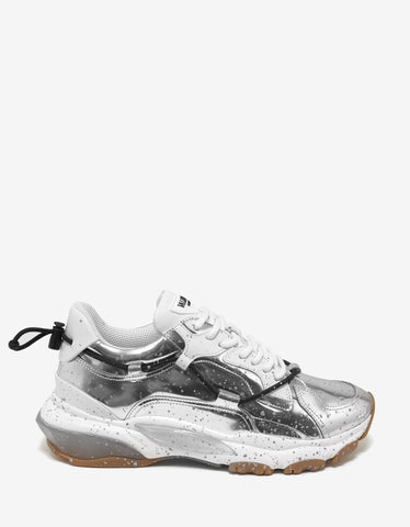 Valentino Garavani Metallic Silver Leather Bounce Trainers
