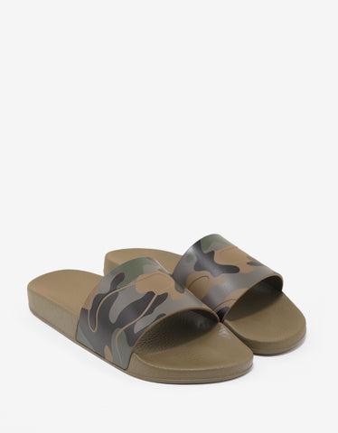 Valentino Garavani Military Green Camouflage Slide Sandals