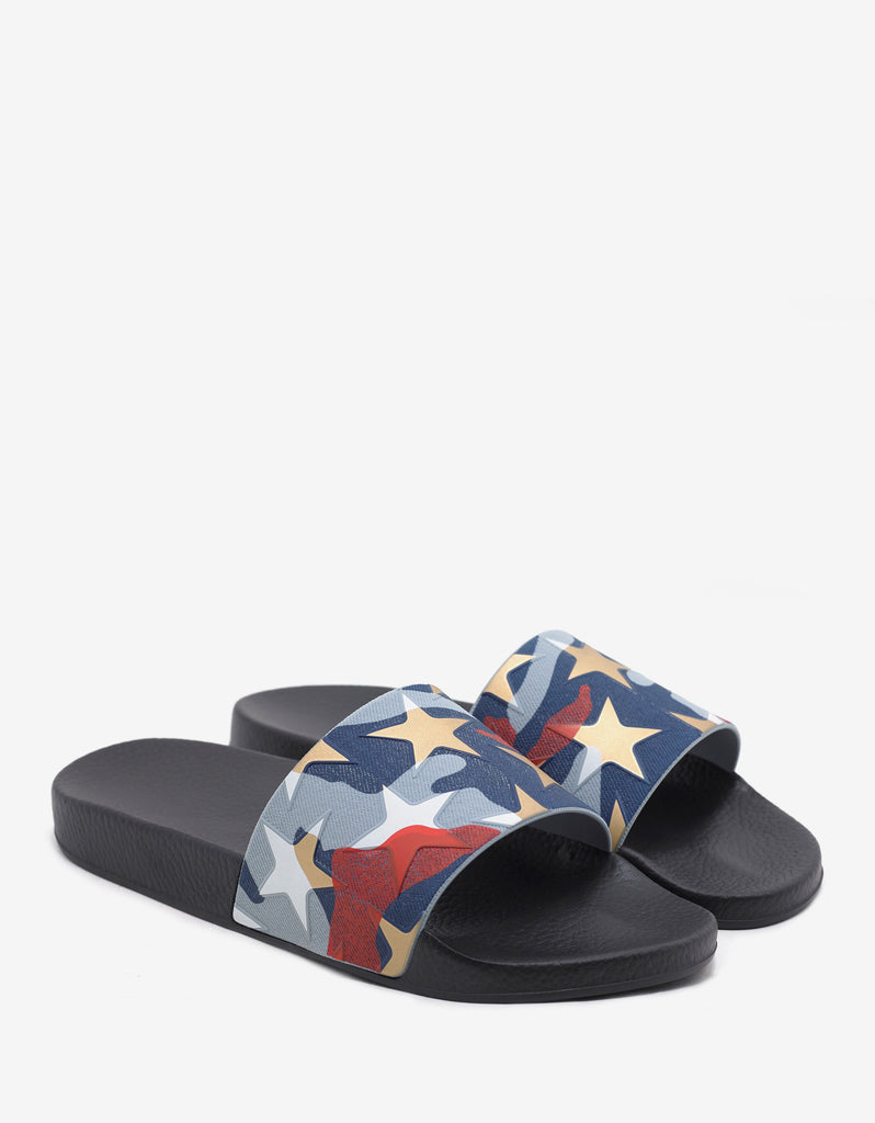 Multicolour Camustars Print Slide Sandals