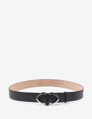 Valentino Garavani Navy Blue 'V' Buckle Belt