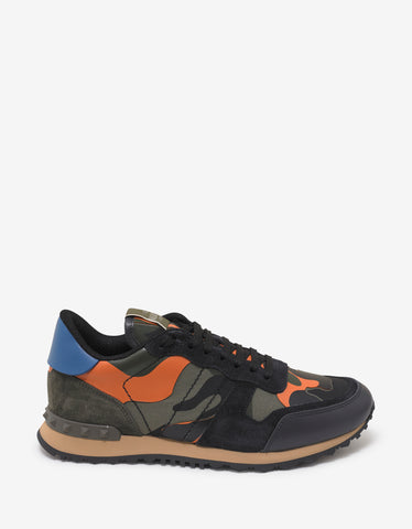 Valentino Garavani Orange & Green Camo Rockrunner Trainers