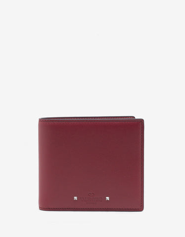 Red Leather Rockstud Billfold Wallet