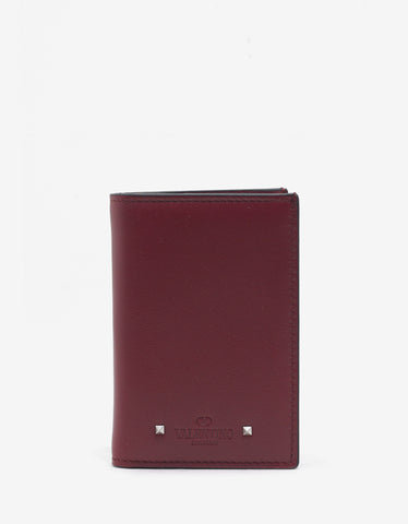 Valentino Garavani Red Leather Rockstud Card Wallet
