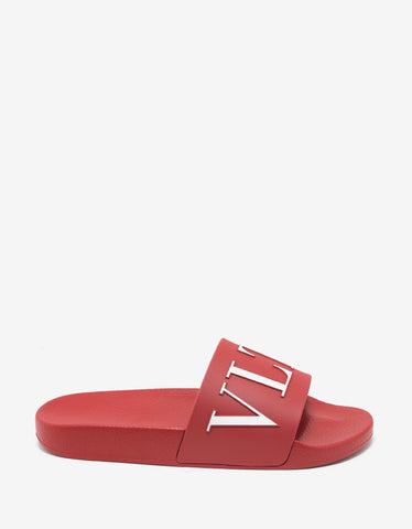 Valentino Garavani Red VLTN Slide Sandals
