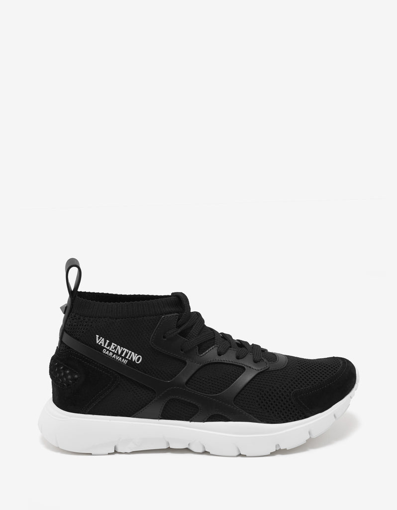 Sound High Black Leather & Mesh Trainers