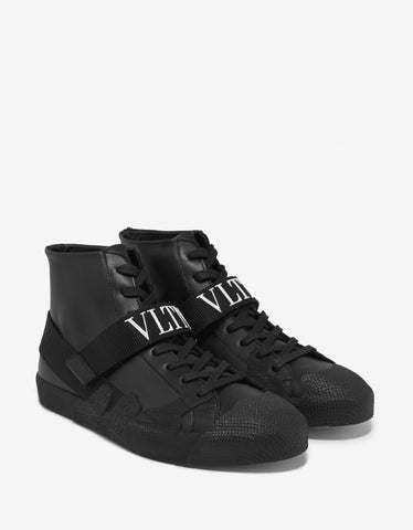 Black Urban Street Crossed Strap Trainers