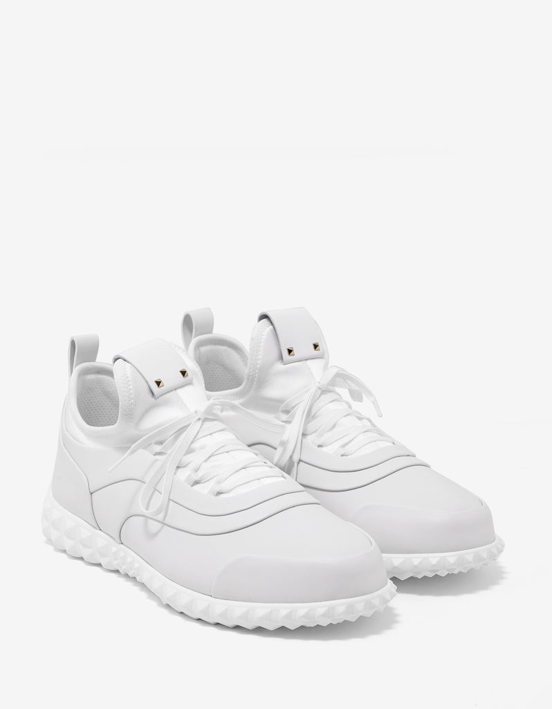 White Leather & Neoprene Trainers