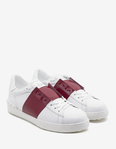 Valentino Garavani White Trainers with Red Patent Band