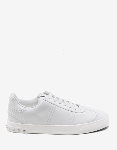 Valentino Garavani White Flycrew Trainers with Rockstud Heel
