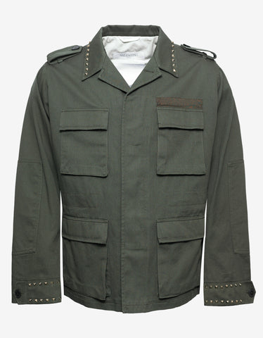 Valentino Rockstud Untitled Green Field Jacket