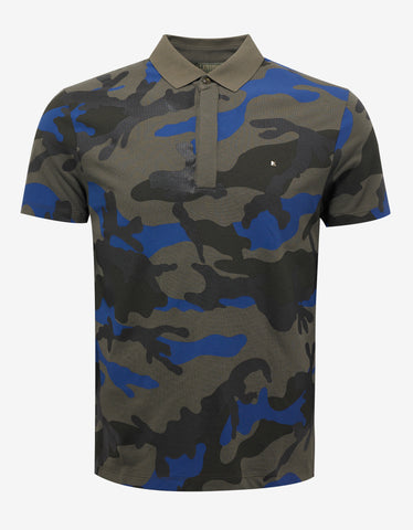 Valentino Green & Blue Camouflage Print Polo T-Shirt