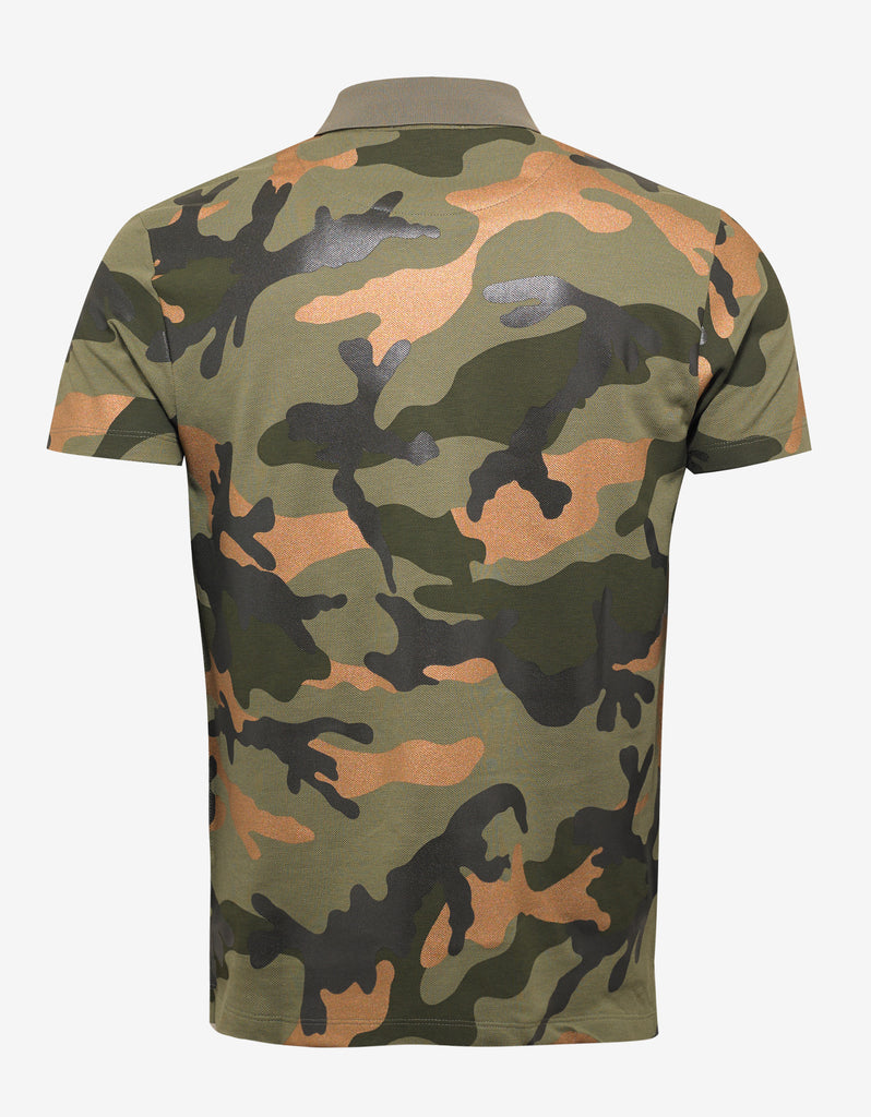 Green & Bronze Camouflage Print Polo T-Shirt