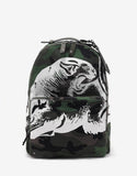 Green Camo Panther Print Canvas Backpack