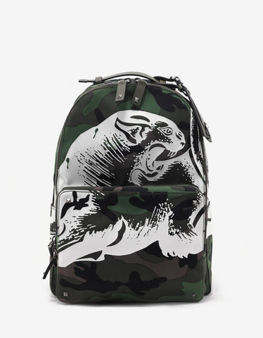 Valentino Garavani Green Camo Panther Print Canvas Backpack