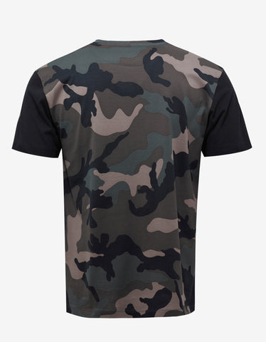 Valentino Green Camo & Panther Print T-Shirt