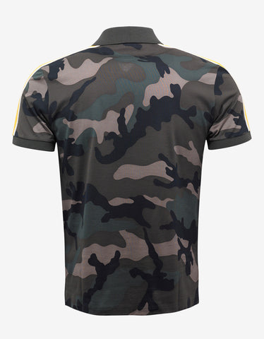 Valentino Green Camo Polo T-Shirt with Yellow Stripes