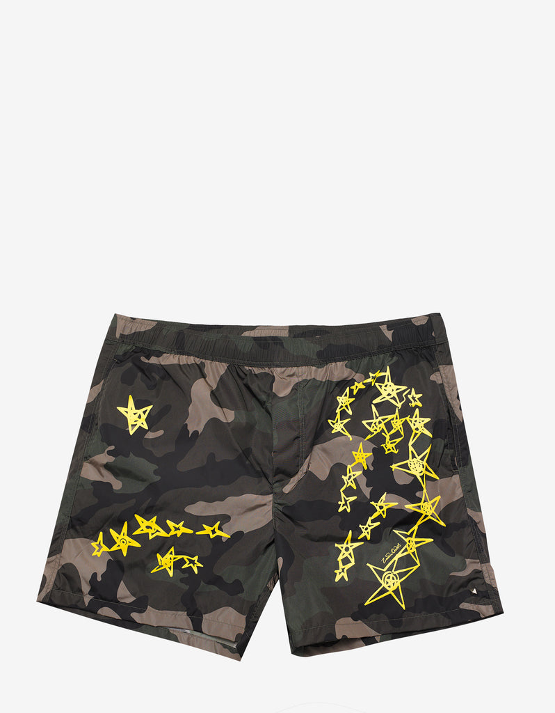 Green Camo Swim Shorts with Yellow Stars