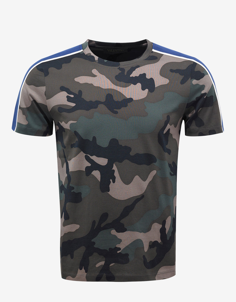 Valentino Green Camouflage T Shirt With Blue Stripes