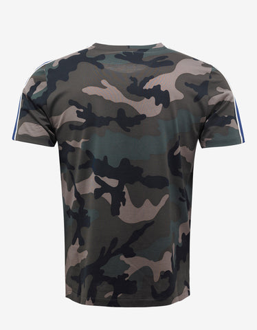 Valentino Green Camouflage T-Shirt with Blue Stripes