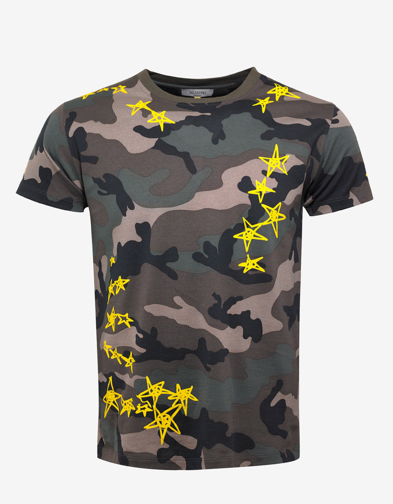 Green Camouflage T-Shirt with Yellow Stars