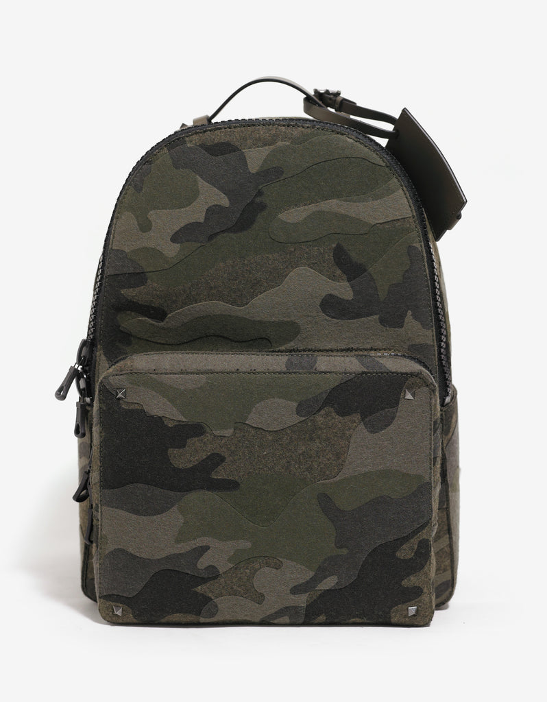 Green Camouflage Wool Felt Backpack