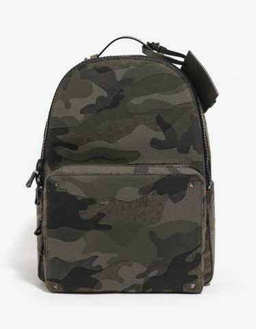 Valentino Garavani Green Camouflage Wool Felt Backpack