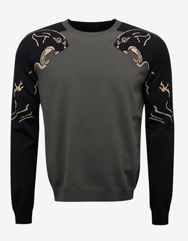 Valentino Green Panther Graphic Knitwear