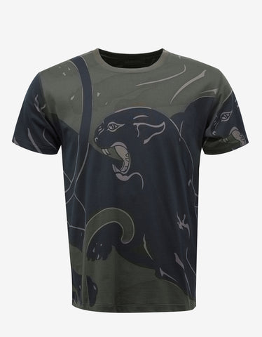 Valentino Green Panther Print T-Shirt
