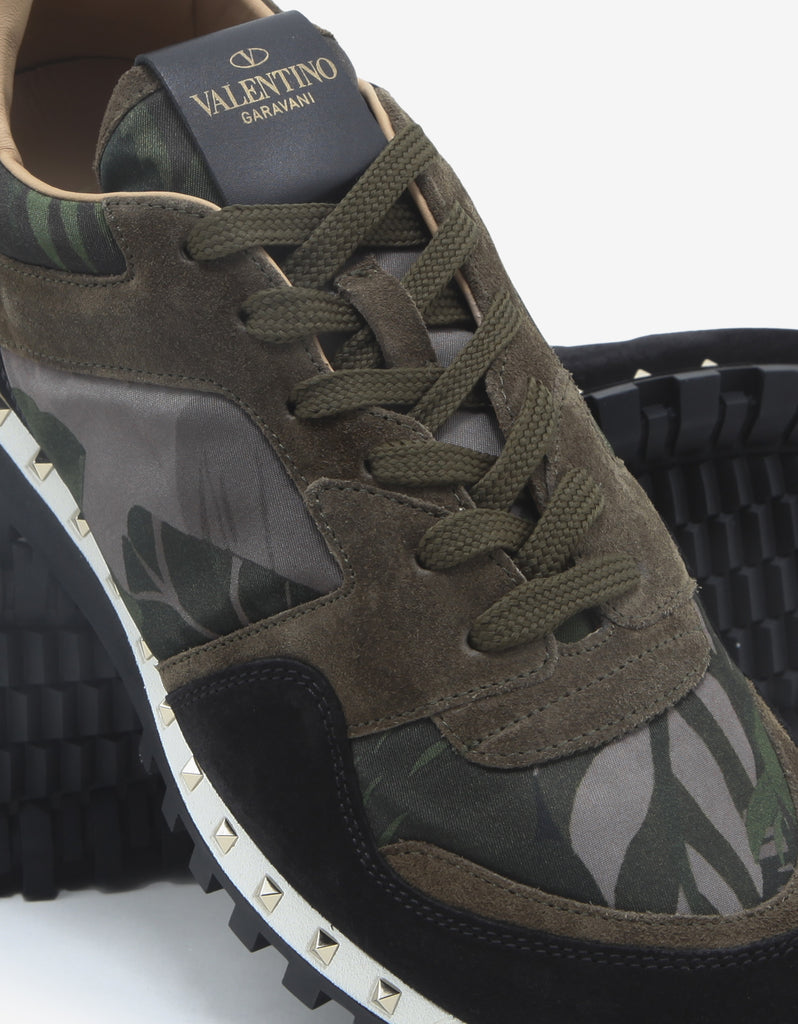 Green Plant Print Studded Rockrunner Trainers