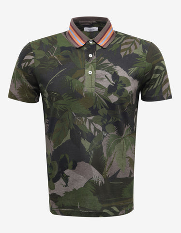 Valentino Green Tropical Print Polo T-Shirt