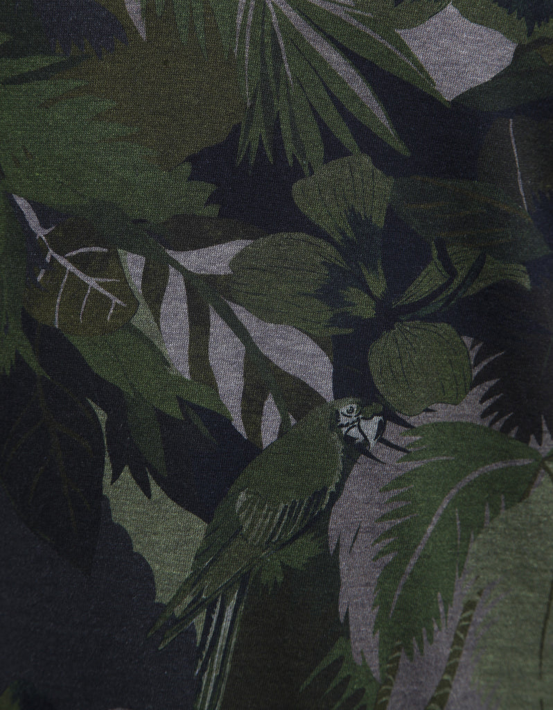 Green Tropical Print Polo T-Shirt