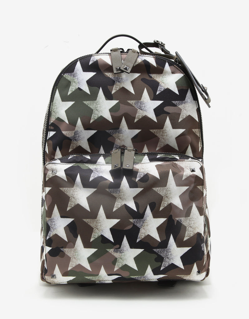 Green & White Camustars Canvas Backpack