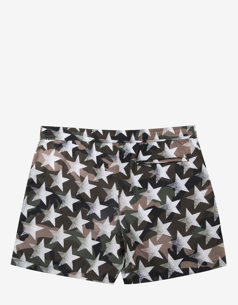 Green & White Camustars Print Swim Shorts