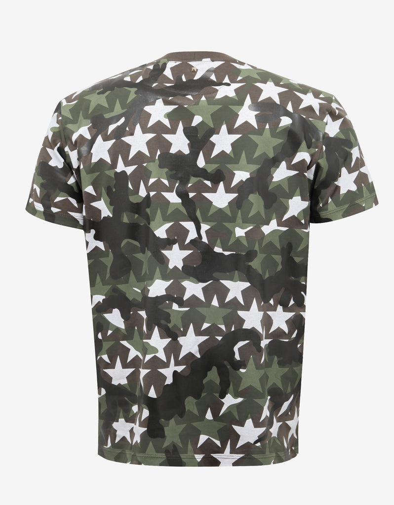 Green & White Camustars Print T-Shirt
