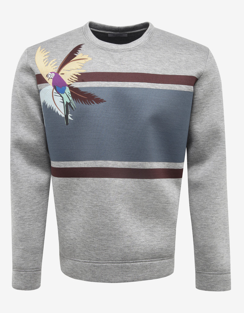Grey Sweatshirt with Parrot Graphic
