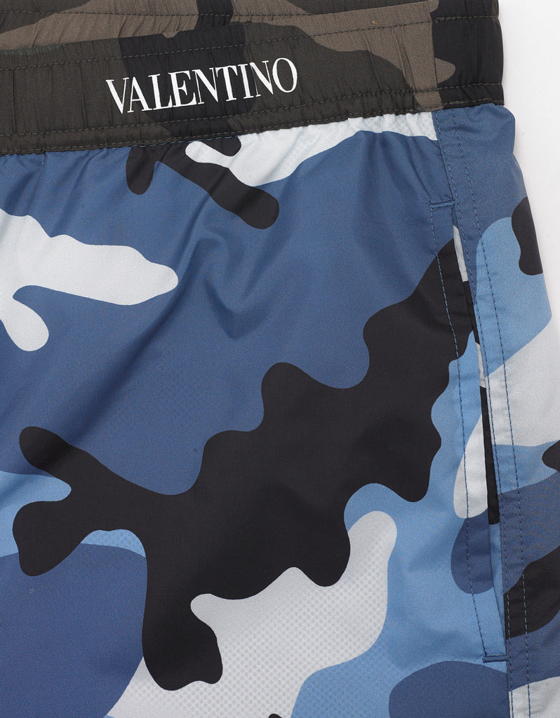 Light Blue Camouflage Print Swim Shorts