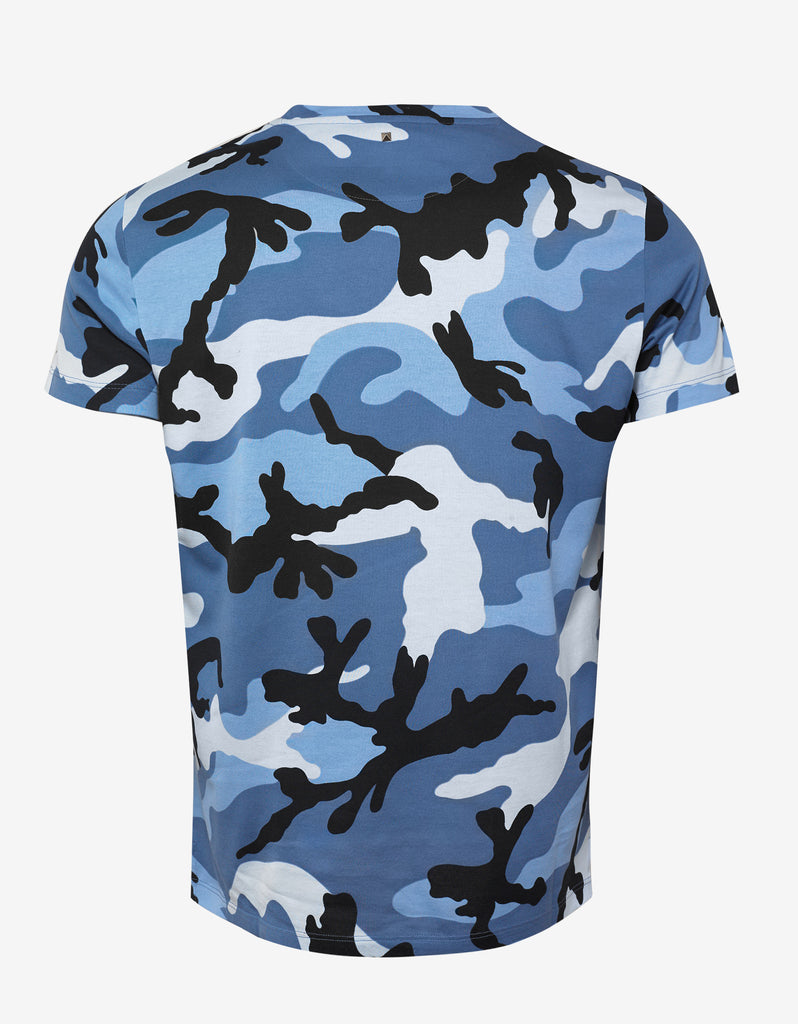 Light Blue Camouflage Print T-Shirt