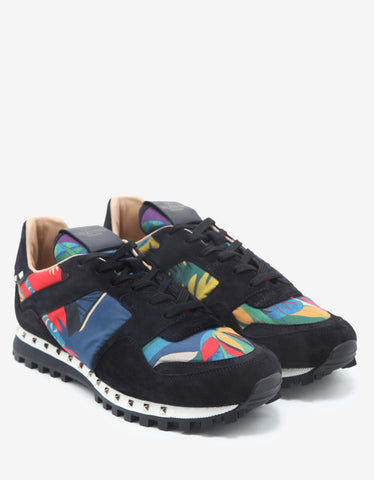 Valentino Garavani Multicolour Tropical Print Studded Rockrunner Trainers