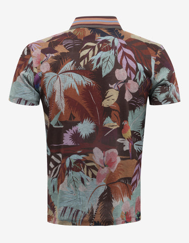 Valentino Multicolour Tropical Print Polo T-Shirt