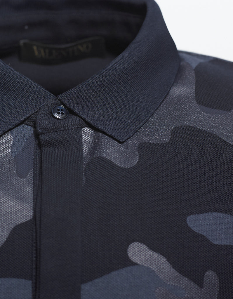 Blue Camouflage Print Polo T-Shirt