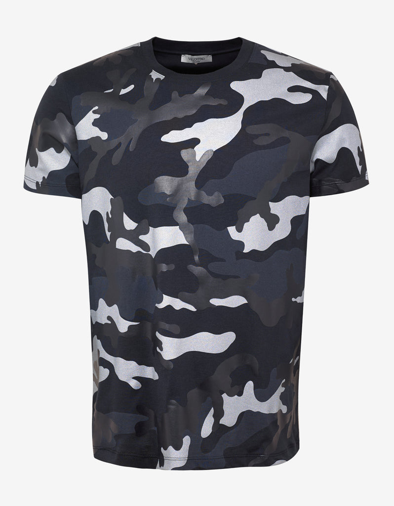 a034bfea Valentino Navy Blue & Gunmetal Camouflage Print T-Shirt ...