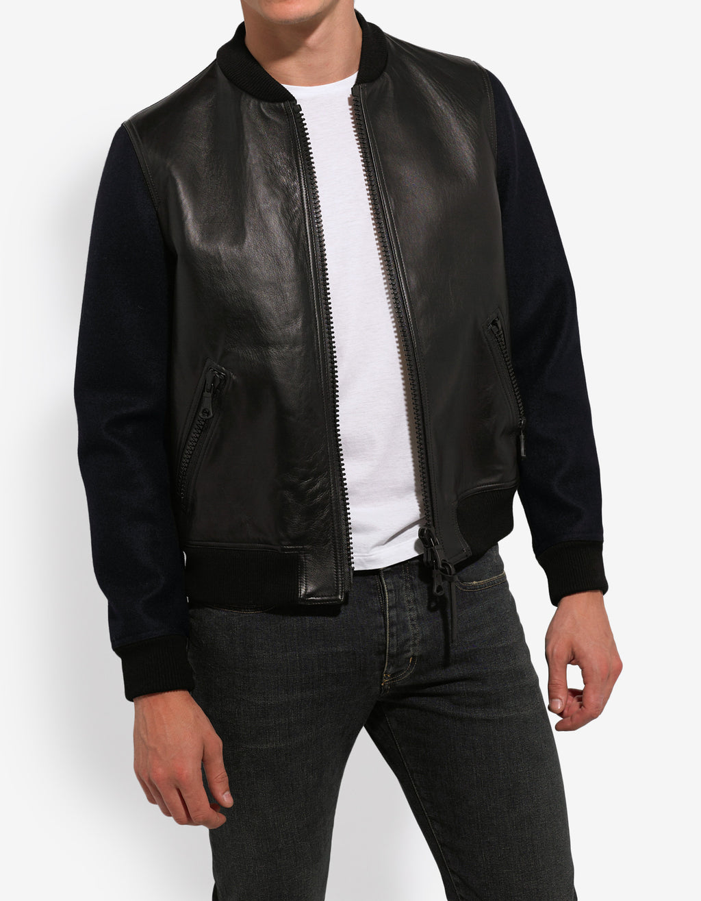 Navy Blue Leather Panel Bomber Jacket