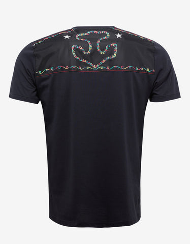 Valentino Navy Blue Marine Embroidered T-Shirt
