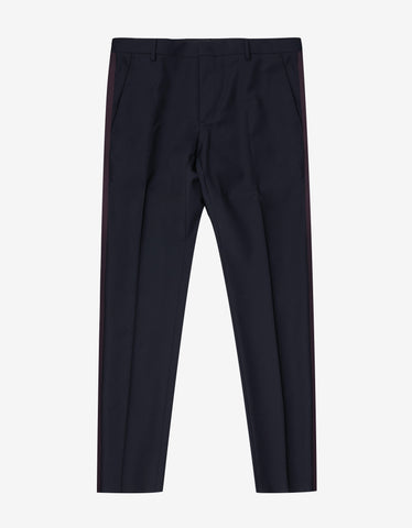 Valentino Navy Blue Trousers with Burgundy Trim