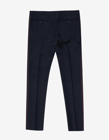 Navy Blue Trousers with Burgundy Trim