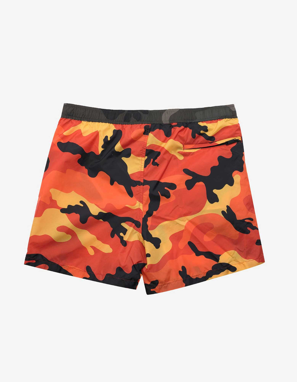 Orange Camouflage Print Swim Shorts